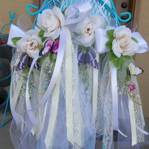 6 Butterfly Flower Wedding Party Pew Swag